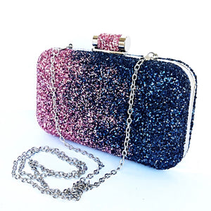 Glitter Clutch Sparkly Bag - Navy Blue Light Pink Ombre Purse