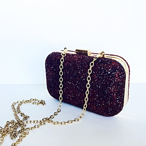 Glitter Clutch Bag - Dark Red Burgundy Purse