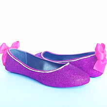 Hot Pink Glitter Flats, Rhinestone Ballet Shoes