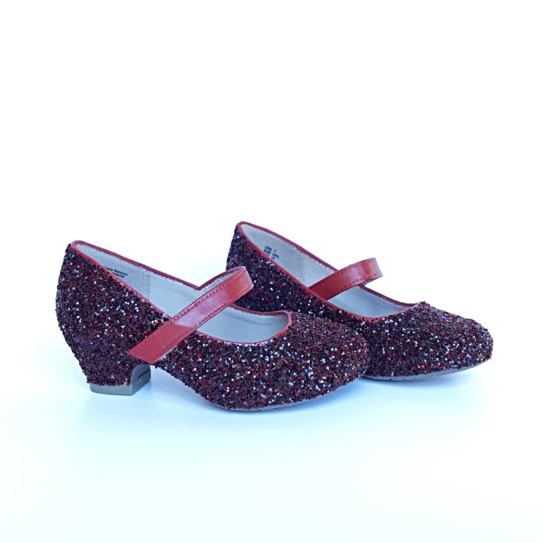Burgundy Glitter Girls Heels, Flower Girl Shoes