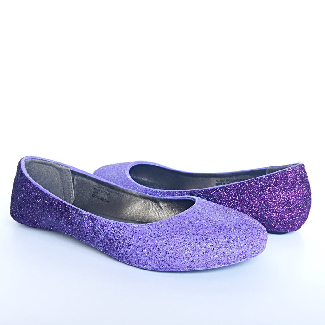Purple Ombre Glitter Flats, Lilac Ballet Shoes