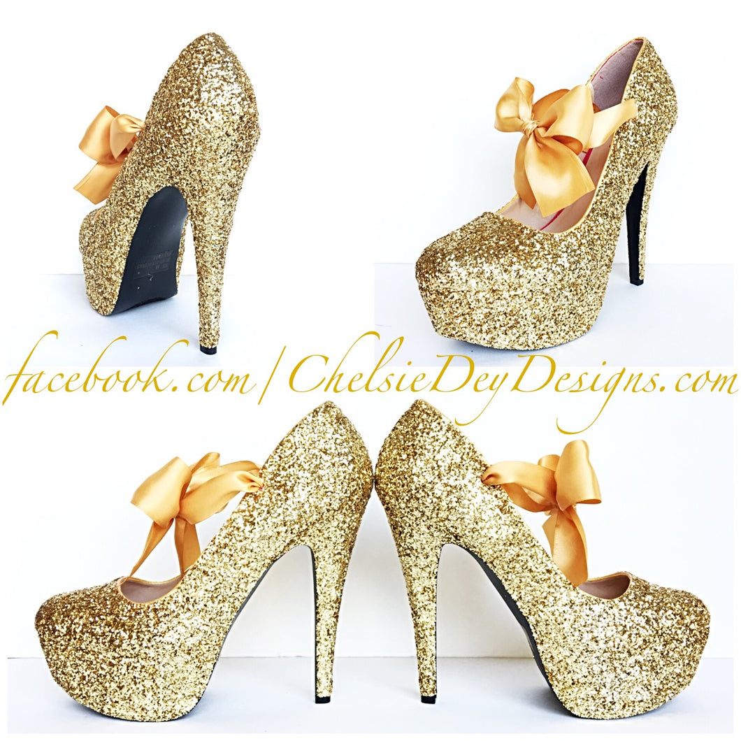 Gold Glitter High Heels, Sparkly Platform Prom Pumps, Wedding Shoes