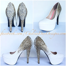 Gold Ombre Glitter High Heels, Silver Crystal Platform Prom Pumps