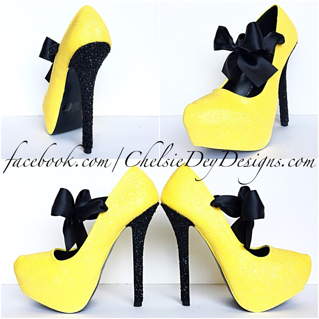Yellow Glitter High Heels, Black Lemon Platform Pumps, Wedding Shoes