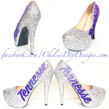 Tennessee Glitter High Heels, Silver Lilac Purple Platform Pumps