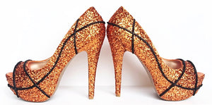 Basketball Glitter Peep Toe Pumps, Orange Open Toe High Heels