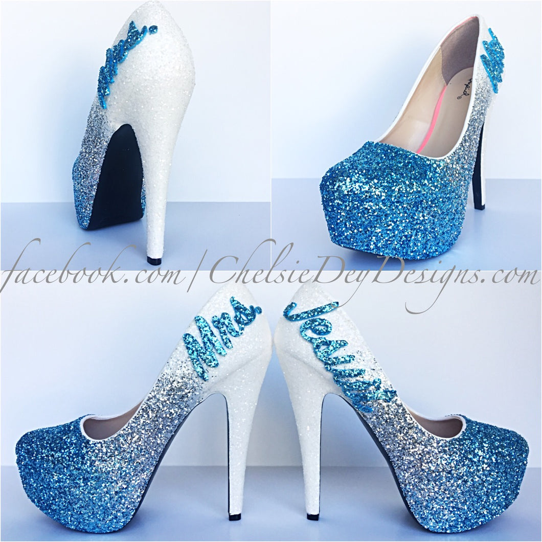 Glitter Wedding High Heels, Aqua Silver Ombre Platform Pumps with New Last Name
