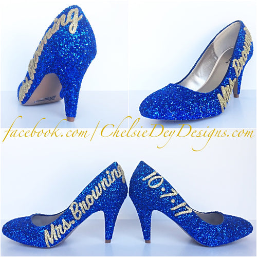 Royal Blue Glitter High Heels, Wedding Platform Pumps, New Last Name and Date