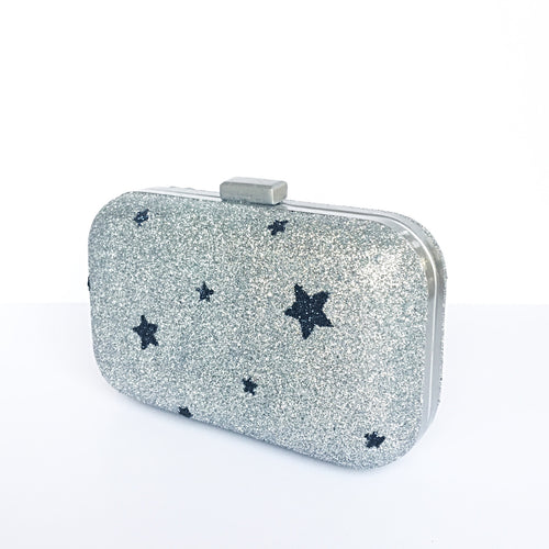 Glitter Clutch Bag - Silver Navy Blue Stars Purse