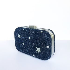 Glitter Clutch Bag - Navy Blue Silver Stars Purse