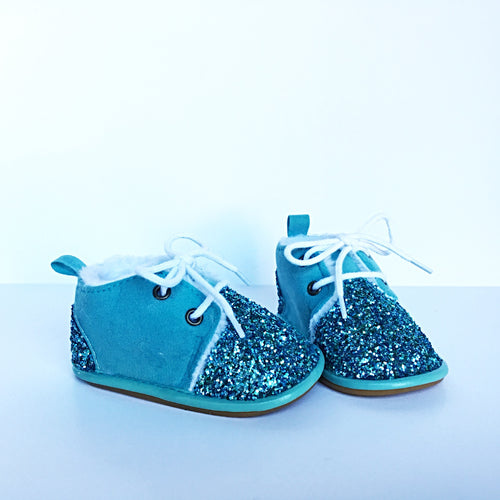 Tiffany Blue Glitter Baby Booties, Aqua Toddler Shoes Boots