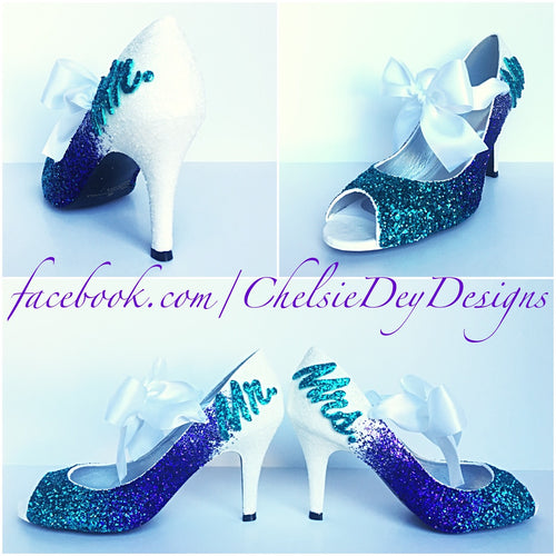 Mr & Mrs Glitter Peep Toe Pumps, White Purple Ombre Wedding Open Toe High Heels