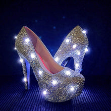 LED Glitter High Heels, Silver Light Up Pumps