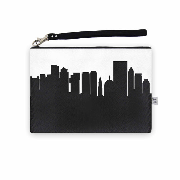 Boston MA Skyline Wristlet Clutch (Vegan Leather)