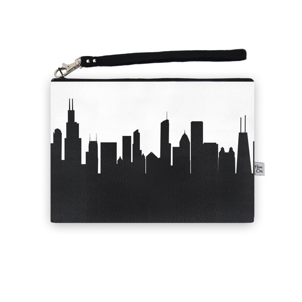 Chicago IL Skyline Wristlet Clutch (Vegan Leather)