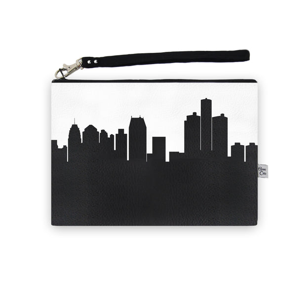 Detroit MI Skyline Wristlet Clutch (Vegan Leather)