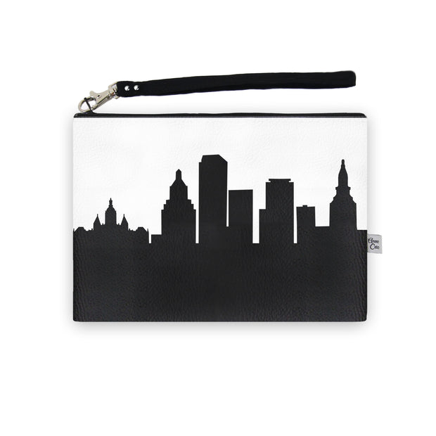 Hartford CT Skyline Wristlet Clutch (Vegan Leather)