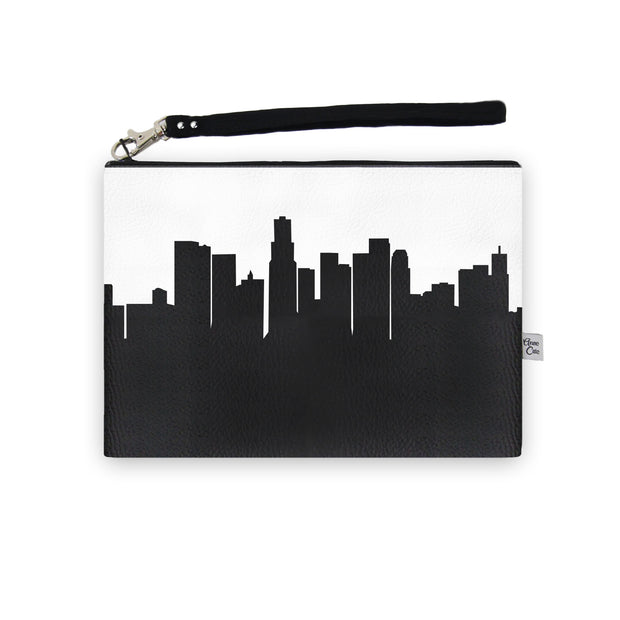 Los Angeles CA Skyline Wristlet Clutch (Vegan Leather)