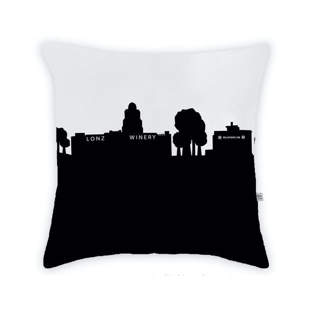 Middle Bass Island OH Skyline Large Throw Pillow