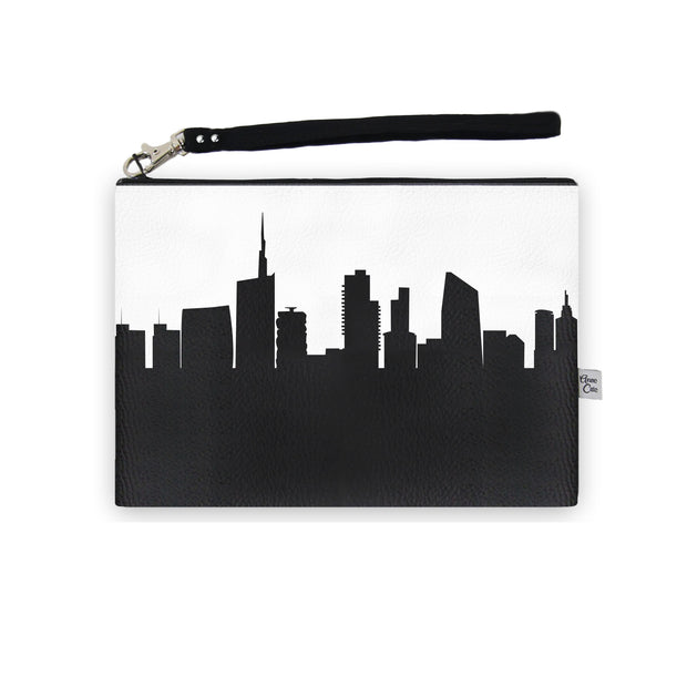 Milan Italy Skyline Wristlet Clutch (Vegan Leather)