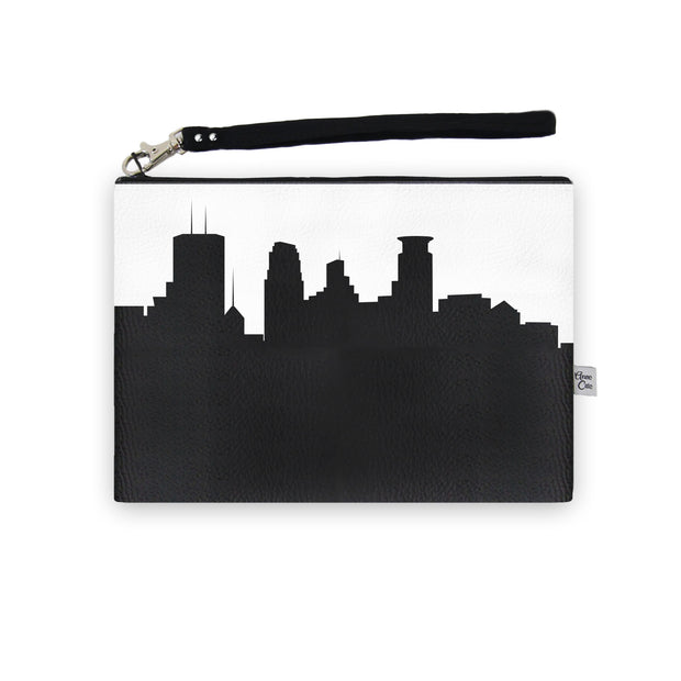 Minneapolis MN Skyline Wristlet Clutch (Vegan Leather)