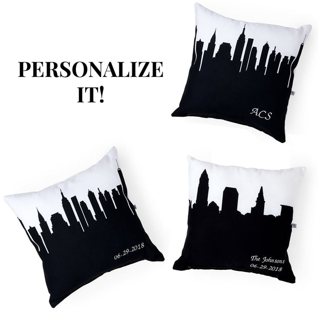 Delaware OH Skyline Large Throw Pillow