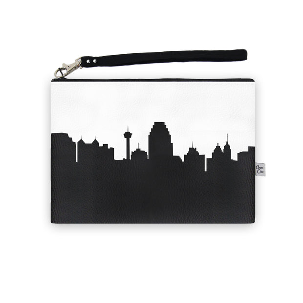 San Antonio TX Skyline Wristlet Clutch (Vegan Leather)