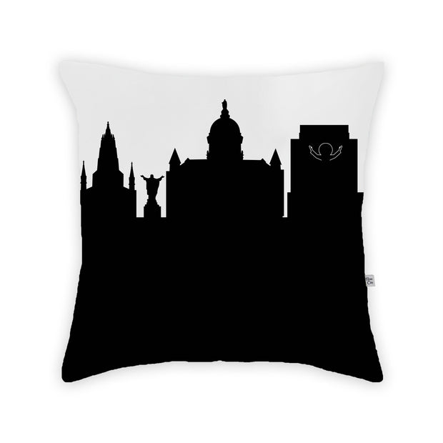 South Bend IN Skyline Large Throw Pillow