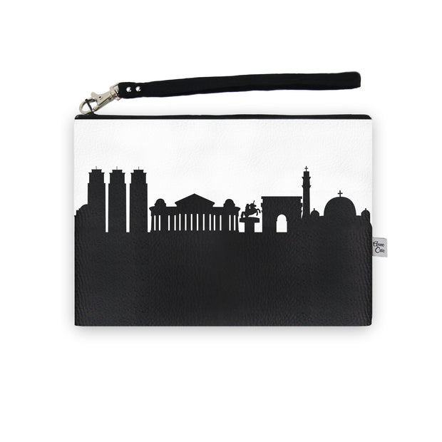 Skopje Macedonia Skyline Wristlet Clutch (Vegan Leather)