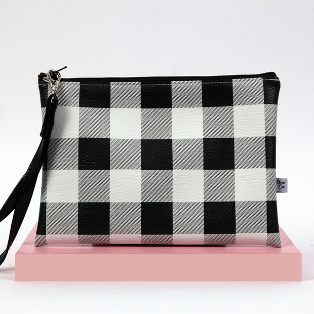Timeless Plaid Wristlet (Vegan Leather)