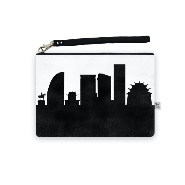 Ulaanbaatar Mongolia Skyline Wristlet Clutch (Vegan Leather)