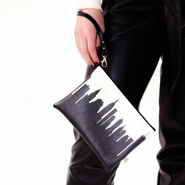 New York City NY Skyline Wristlet Clutch (Vegan Leather)