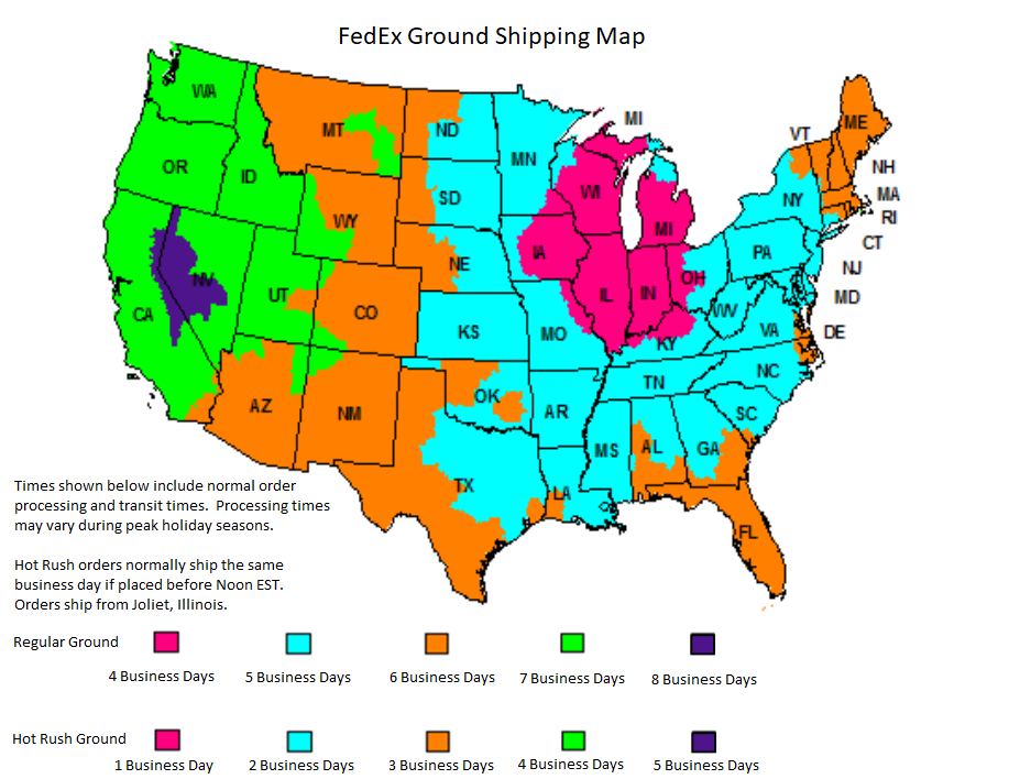 Party Secret Ground Shipping Map