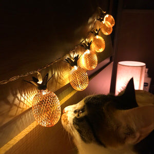 String of Pineapple LED Lights (5ft - 10 Pineapples)