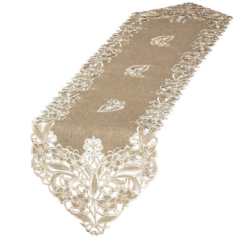 Elegant Embroidered Lace Table Linens, Runner, BrownElegant Embroidered Lace Table Linens, Runner, Brown