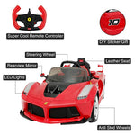 Ferrari FXX K Kids Ride On Cars  w/Remote Control,Leather Seat, LED Lights, Music, Aux, Horn, Butterfly Doors,Red