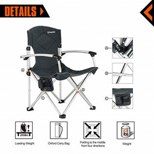 Quad Chair Smooth Armrest 1200D Oxford Fabric Aluminum Frame Padded with Cup Holder Storage Pocket