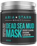 Aria Starr Dead Sea Mud Mask For Face, Acne, Oily Skin & Blackheads - Best Facial Pore Minimizer, Reducer & Pores Cleanser Treatment - Natural For Younger Looking Skin