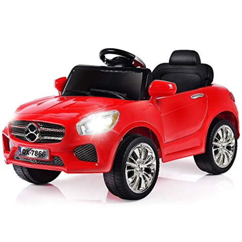 Costzon Kids Ride On Car, 6V RC Parental Remote Control & Foot Pedal Manual Modes, Battery Powered Vehicle w/LED Lights MP3 Functions, Red