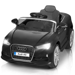 Audi A3 12V Battery Powered Ride-On Vehicle, Manual/Parental Remote Control Modes with Headlights 2WD (Black)