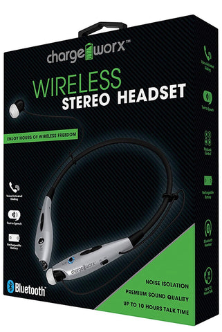 Wireless Stereo Headset Bluetooth Chargeworx Premium Sound Quality (Silver)