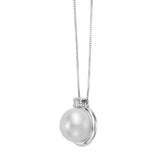 Freshwater 9-10mm Pearl & Diamond 14kt White Gold Pendant