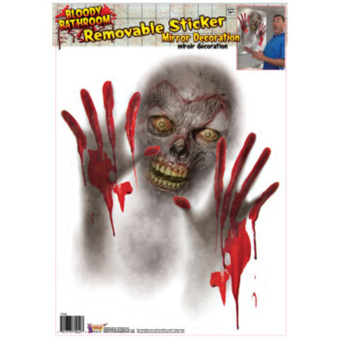 Gory Zombie Mirror or Window Decoration - Peel n Stick - 1 per pack