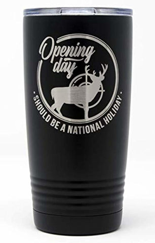 Thomas And Son Stainless Steel Travel Mug - Deer Black Double Wall Insulated 20 Oz Tumbler - Hot Beverage Travel Mug - Hunting Gifts