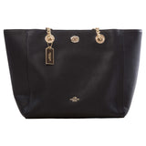 Coach Pebbled Turnlock Chain Tote, Black