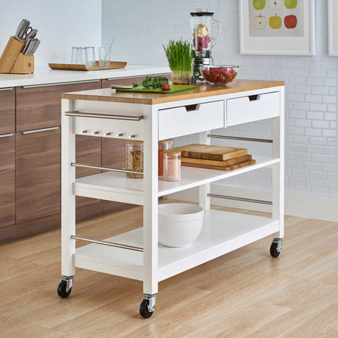"Trinity 48"" Bamboo Kitchen Cart with Drawers, White"