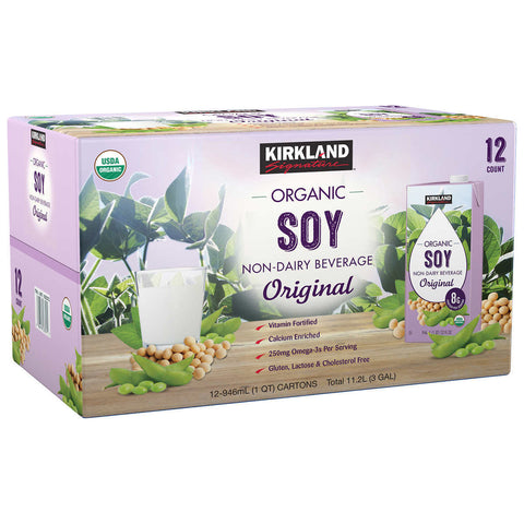 Kirkland Signature Organic Soy Beverage, Plain, 32 fl oz, 12-count