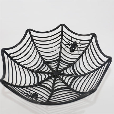 Halloween Spider Web Candy Basket Black Orange Candy Bowl Plastic Candy Box Halloween Decoration Party Supplies