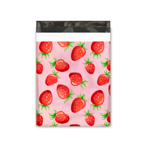 10x13 Watercolor Strawberries Designer Poly Mailers Shipping Envelopes Premium Printed Bags