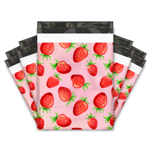 Load image into Gallery viewer, 10x13 Watercolor Strawberries Designer Poly Mailers Shipping Envelopes Premium Printed Bags